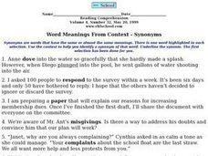 Synonyms: Meanings from Context Worksheet