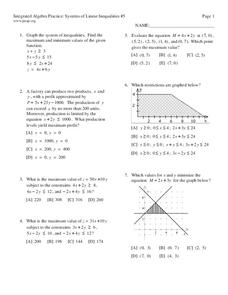 Systems of Linear Inequalities #5 Worksheet