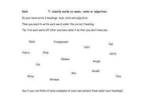 T: Classify Words as Nouns, Verbs, or Adjectives Worksheet