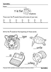 T, U, V, X, Y and Z Worksheet
