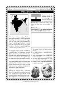 Tabla Drums - India Worksheet