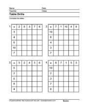 Table Drills: Addition Facts 2 Worksheet