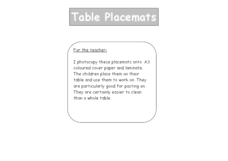 Table Placemats Lesson Plan