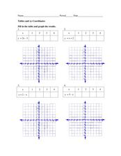 Tables and xy-Coordinates Worksheet