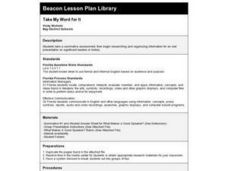 Take My Word For It Lesson Plan