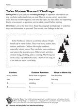 Take Notes/Record Findings Worksheet