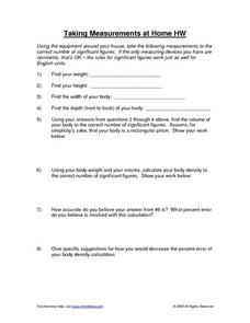 Taking Measurements at Home Worksheet