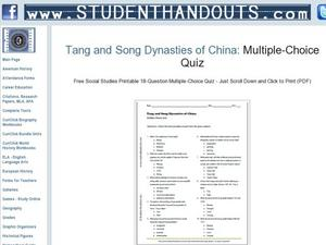 tang and song dynasties of china quiz 7th 9th grade worksheet lesson planet. Black Bedroom Furniture Sets. Home Design Ideas