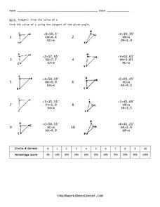 Tangent Worksheet