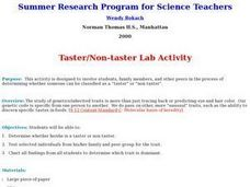Taster/Non-taster Lab Activity Lesson Plan