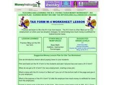 Tax Form W-4 Worksheet Lesson Lesson Plan