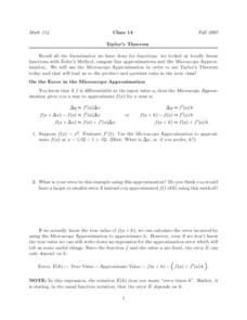 Taylor's Theorem Worksheet