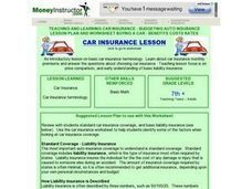 Teaching And Learning Car Insurance - Budgeting Auto Insurance Lesson Plan And Worksheet Buying a Car - Benefits Costs Rates Lesson Plan