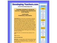 Teaching Listening to Advanced Learners Lesson Plan