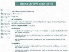 Teaching Students about Words Lesson Plan