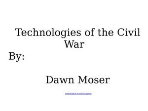 Technologies of the Civil War Lesson Plan