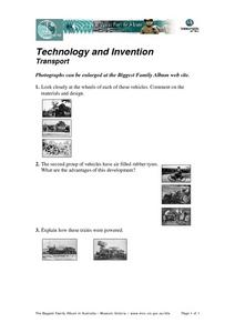 Technology and Invention Transport Worksheet