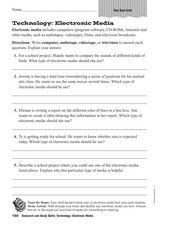 Technology: Electronic Media Worksheet