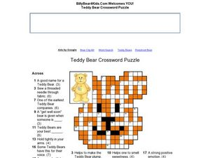 Teddy Bear Crossword Puzzle Worksheet