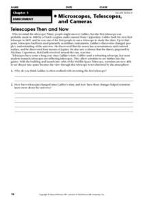 Telescopes Then And Now Worksheet