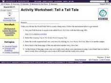 Tell a Tall Tale Wacky Story Worksheet Worksheet