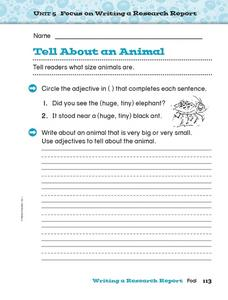 Tell About an Animal Worksheet