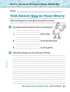 Tell About You in Your Story Worksheet