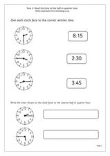 Tell Time Worksheet