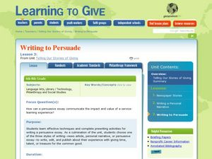 Telling Our Stories of Giving - Writing to Persuade Lesson Plan