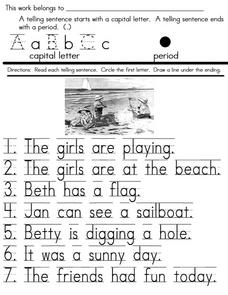 telling sentences 1st 3rd grade worksheet lesson planet. Black Bedroom Furniture Sets. Home Design Ideas