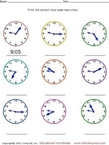 Telling Time - Five Minute Intervals Analog Clock Faces Worksheet