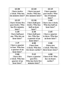 Telling Time Game: I Have, Who Has? Worksheet