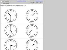 Telling Time: On the half-hour Worksheet