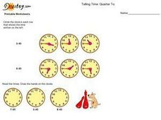 Telling Time: Quarter To the Hour Worksheet