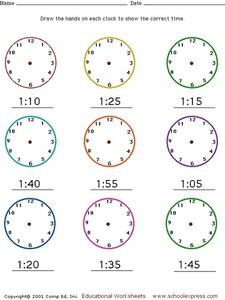 Telling Time: Show Hands on Clocks Worksheet