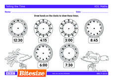 Telling Time to Fifteen Minutes Worksheet