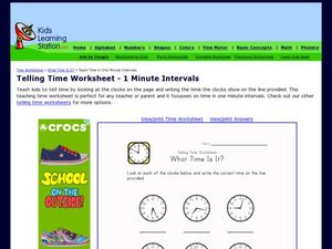 Telling Time Worksheet - 1 Minute Intervals, Version 2 Worksheet