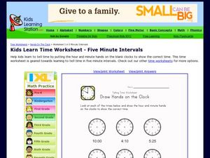Telling Time Worksheet: Draw Hands on the Clock Worksheet