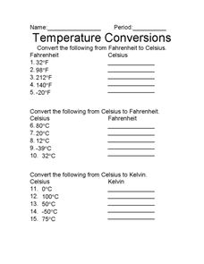 Temperature Conversions Worksheet