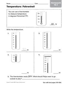 Temperature: Fahrenheit Homework 18.5 Worksheet