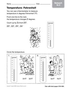 Temperature: Fahrenheit Reteach 18.5 Worksheet