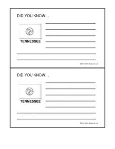 Tennessee: Did You Know... (Fact Card) Worksheet