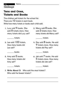 Tens and Ones, Tickets and Books  challenge Worksheet