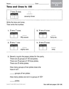 Tens and Ones to 100: Homework Worksheet