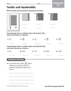 Tenths and Hundredths - Homework 21.1 Worksheet