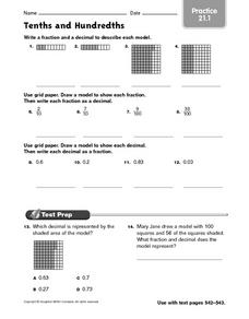 Tenths and Hundredths practice 21.1 Worksheet