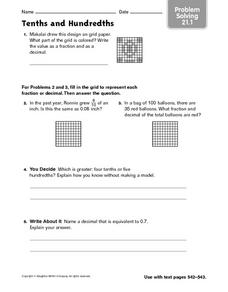 Tenths and Hundredths - Problem Solving 21.1 Worksheet