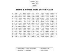 Terms & Names Word Search Puzzle Worksheet
