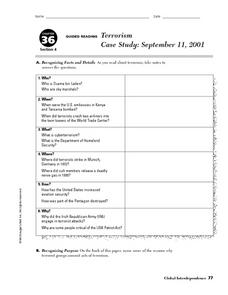 Terrorism Case Study: September 11 Worksheet