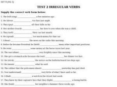 Test 2 Irregular Verbs Worksheet
